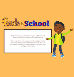 back to school poster with place for text and kid vector image