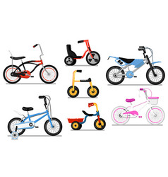 different types kids bicycle isolated set vector image