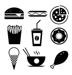 Fast food icon set Burger ice cream vector image