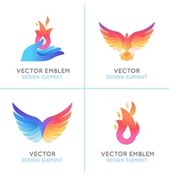 Phoenix birds and fire icons vector image vector image