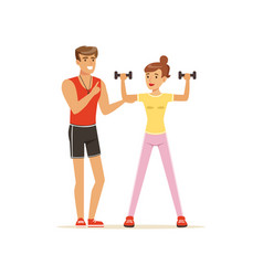 professional fitness coach exercising with vector image vector image