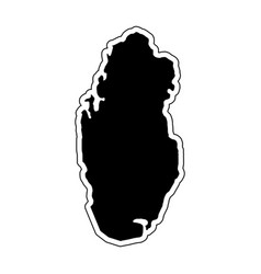 black silhouette of the country qatar with the vector image