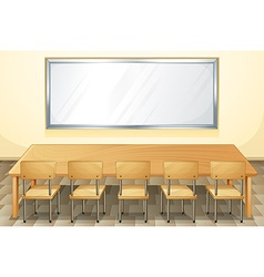 Classroom with whiteboard and chairs vector image vector image