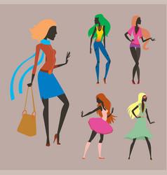 fashion look girl silhouette beautiful girl woman vector image vector image