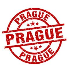 prague red round grunge stamp vector image vector image