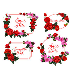 wedding invitation card with red flower frame vector image vector image