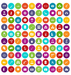 100 antiterrorism icons set color vector image