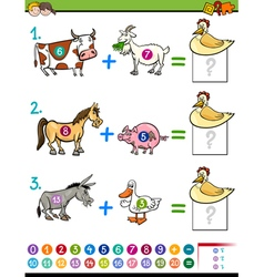 Addition educational activity for kids vector