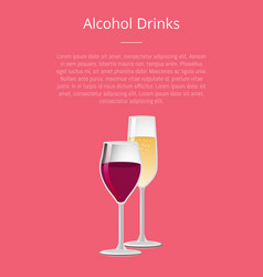 Alcohol drinks poster with glass of wine champagne vector