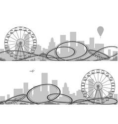 amusement park silhouettes vector image