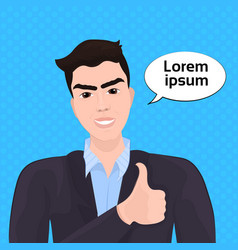 asian business man show thumb up over retro comic vector image