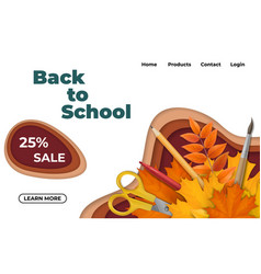 back to school design with paper cut waves vector image