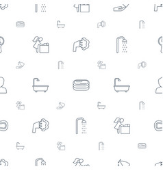 Bathroom icons pattern seamless white background vector