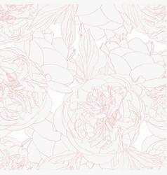 Beige peony rose flowers seamless pattern vector