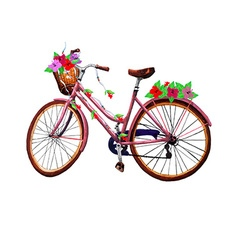 Bike flower and basket vector