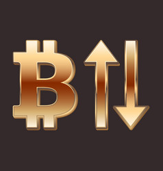 Bitcoin golden sign and arrows up and down vector