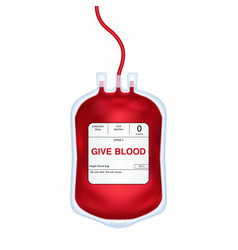 blood donation concept with bood bag vector image