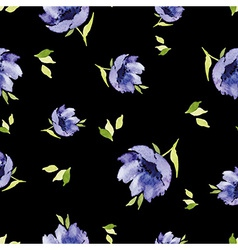 Blue watercolor flowers seamless pattern vector image