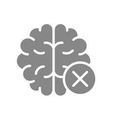 Brain with cross checkmark gray icon diseased vector