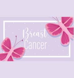 breast cancer awareness month pink butterflies vector image