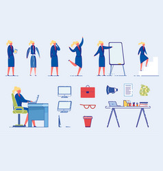 Businesswoman or office worker character poses set vector