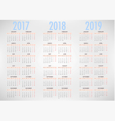 Calendar for 2017 2018 2019 on white background vector