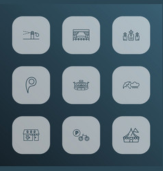 city icons line style set with rainy weather vector image