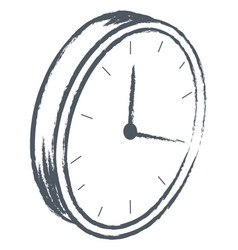 clock showing time monochrome sketch outline vector image