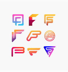 Collection logo letters f color gradient full vector