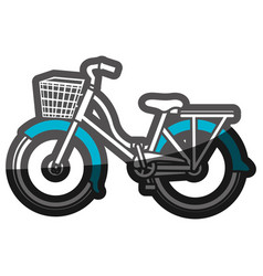 Color silhouette with classic bicycle with basket vector