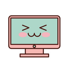 Computer desktop kawaii character vector