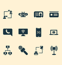 connection icons set with microphone letter tv vector image