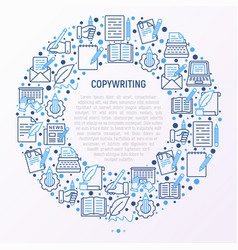 copywriting concept in circle with thin line icons vector image
