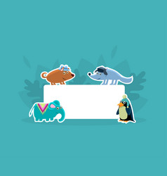 Cute animals holding empty banner wolf elephant vector