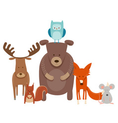 Cute cartoon animal characters group vector