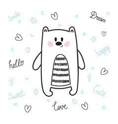 Cute hand drawn postcard with funny bear card for vector