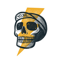 cyclist style skull head with a hat vector image
