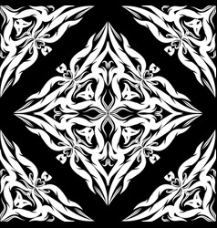 damask seamless pattern black and white vector image