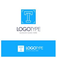 Designer font path program text blue solid logo vector