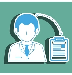 Doctor with clinic history isolated icon design vector