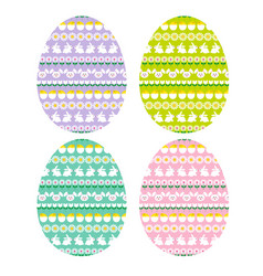 easter eggs with bunny stripe patterns vector image