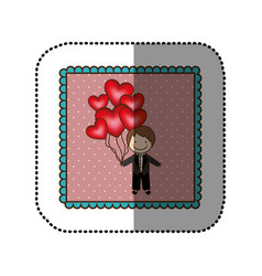 Emblem bridegroom with red heart balloons in his vector