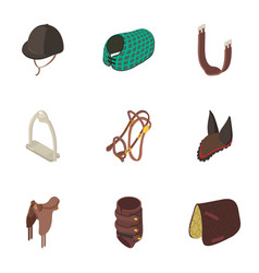 Equestrian icons set isometric style vector