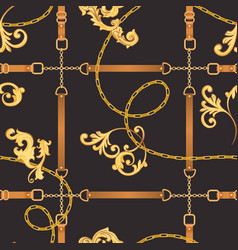 fabric seamless pattern with golden chains belts vector image