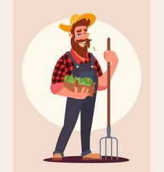 Farmer at work flat vector