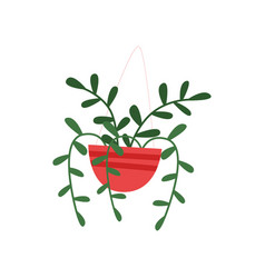 Flat icon of red hanging pot with plant vector