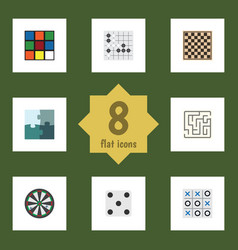 flat icon play set of gomoku cube chess table vector image