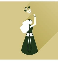 Flat icon with long shadow bride throws bouquet vector