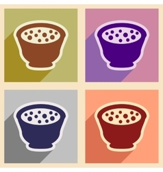 Flat with shadow concept miso soup on stylish vector