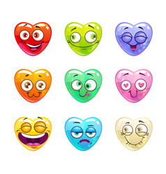 funny cartoon colorful glossy heart characters vector image